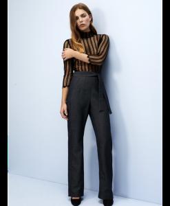 High Waist slimming pants - grey, denim look