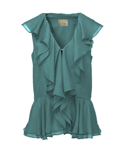 Thi Thao ruffled shirt – Green