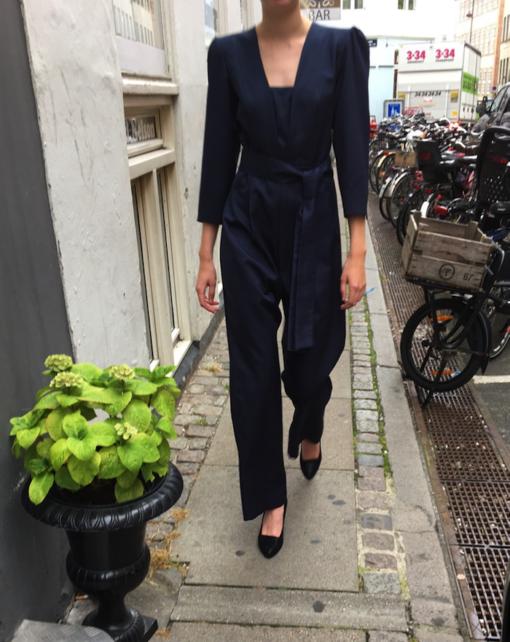 Jumpsuit Low V-neck Silk – dark blue