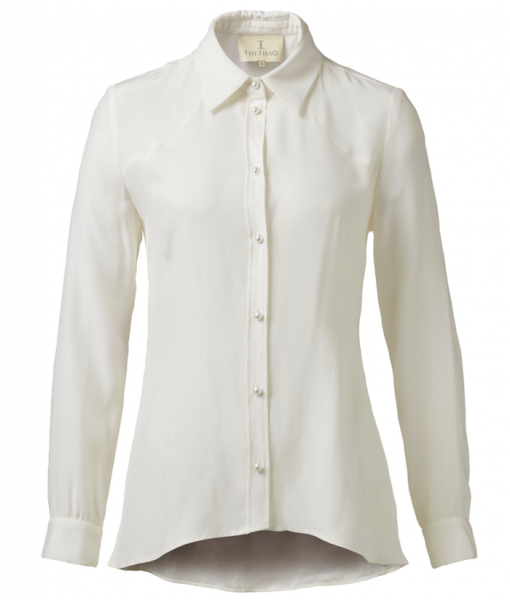 Classic silk shirt – White, sandwashed
