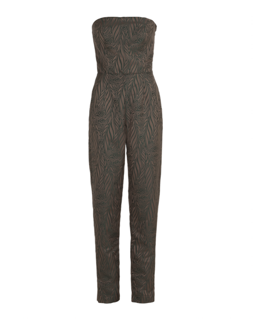 Sleveless jumpsuit – green jacquard