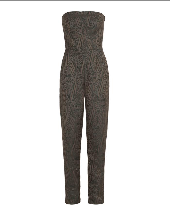Sleveless jumpsuit – green jacquard