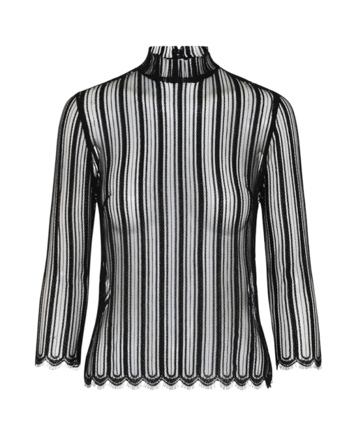 Black lace blouse – stripes