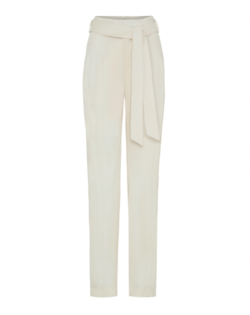 High-waist slimming pants – Ivory Silk