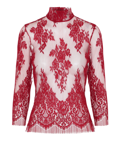 Red lace top with sleeves and high neck